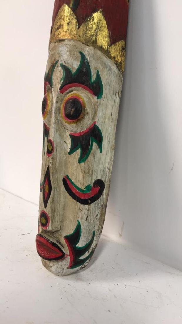 Tribal Style Carved Painted Mask - 6