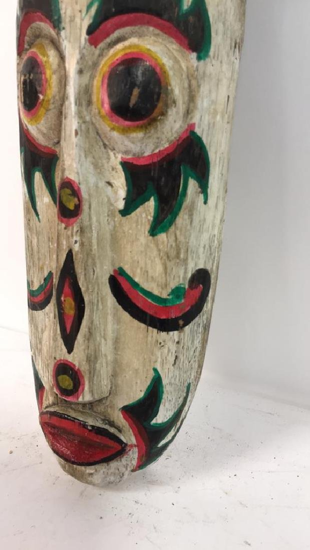 Tribal Style Carved Painted Mask - 7