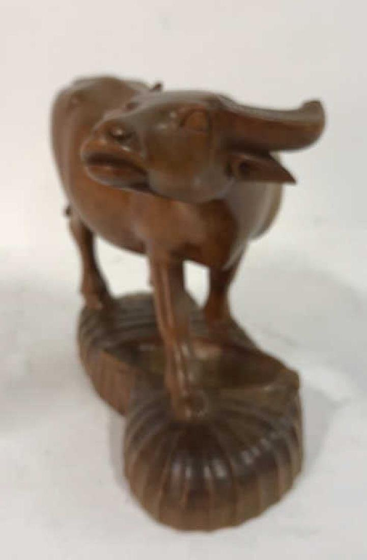 Carved Wood Water Buffalo Sculpture - 6
