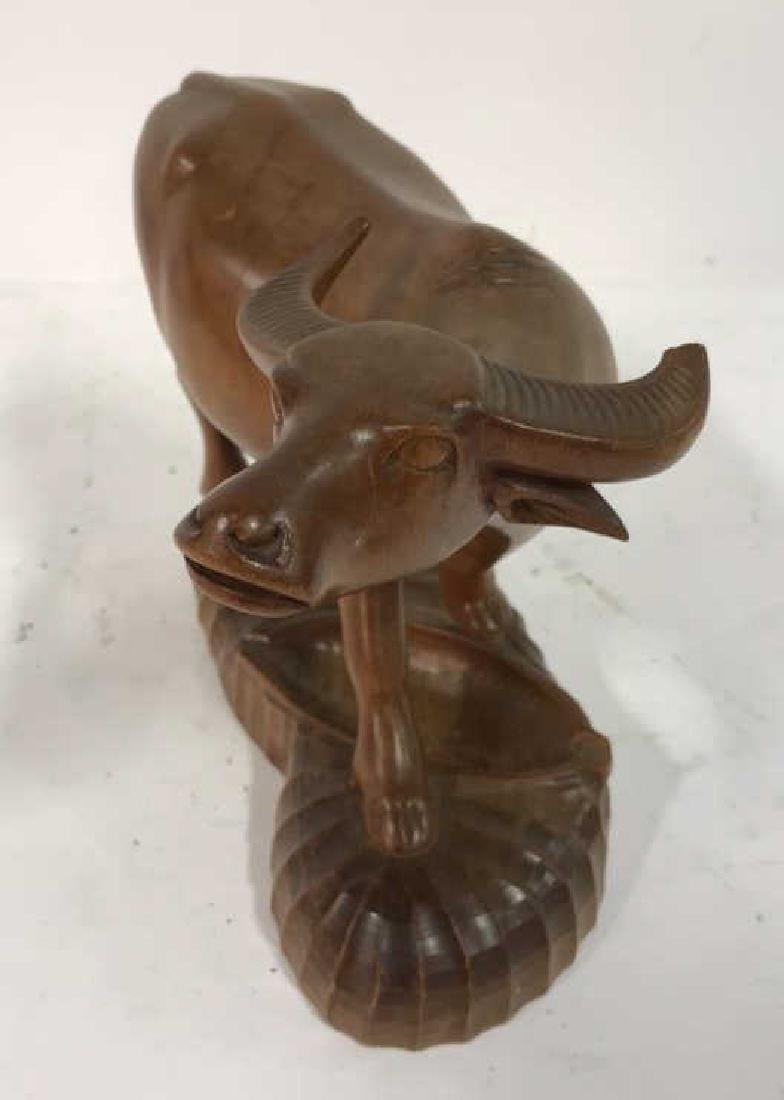 Carved Wood Water Buffalo Sculpture - 7