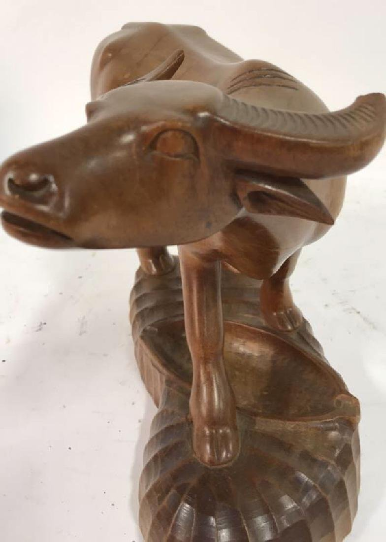 Carved Wood Water Buffalo Sculpture - 8