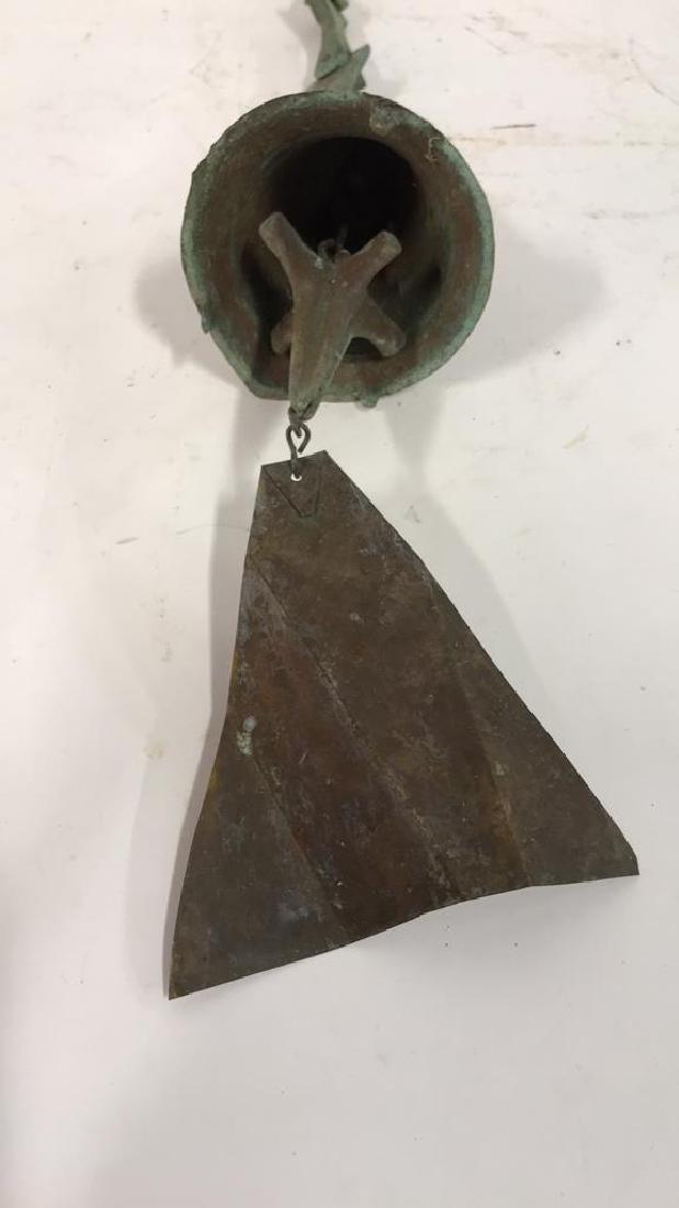Green Patina Copper Metal Bell Sculpture - 2