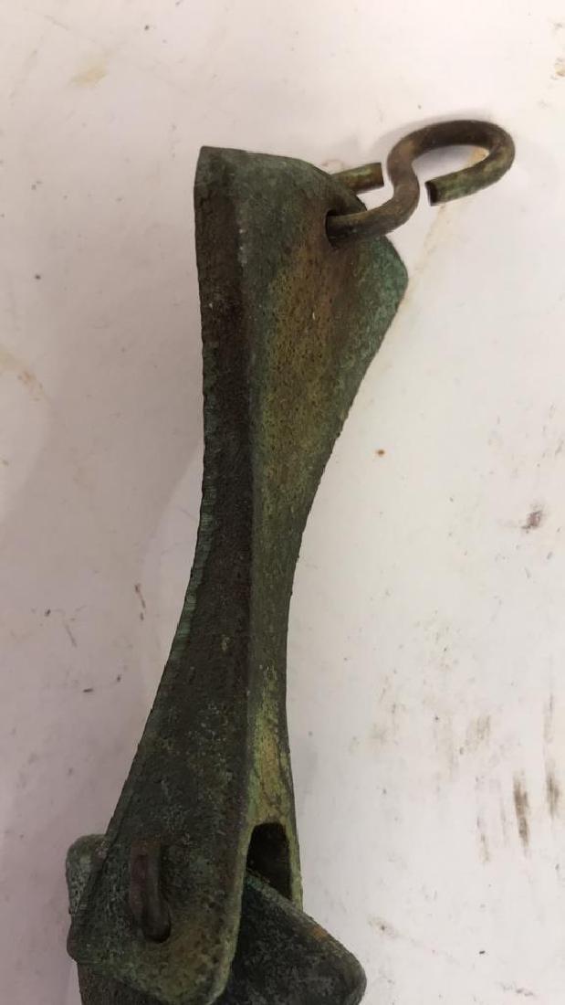 Green Patina Copper Metal Bell Sculpture - 9