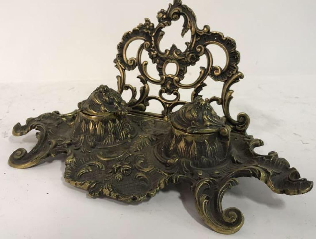Art Nouveau Gilded Metal Double Cup Inkwell