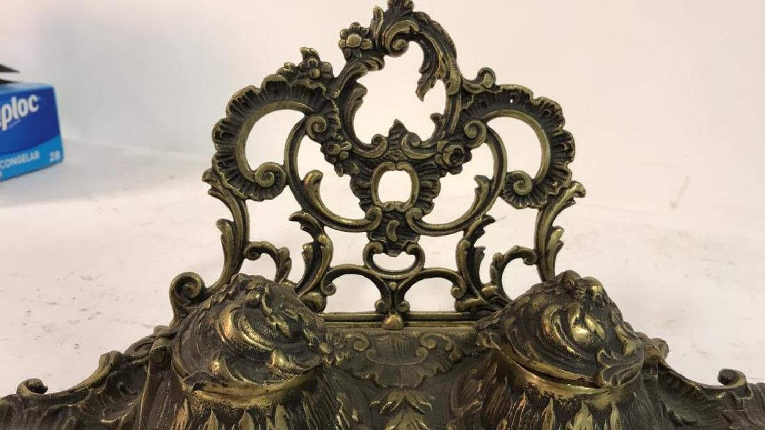 Art Nouveau Gilded Metal Double Cup Inkwell - 5