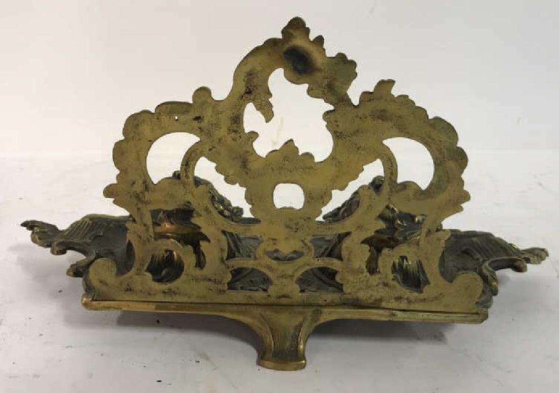 Art Nouveau Gilded Metal Double Cup Inkwell - 8