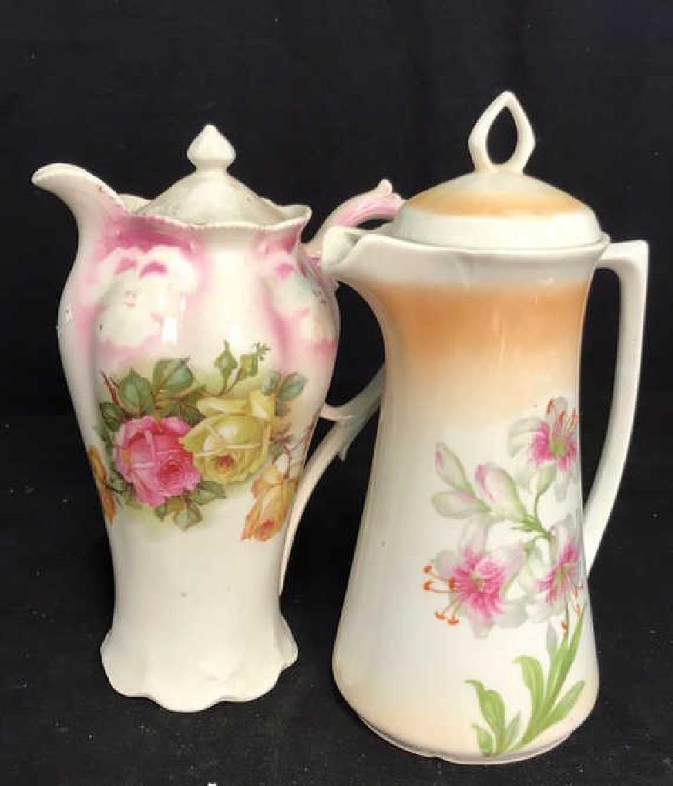 2 Vintage Painted Porcelain Teapots