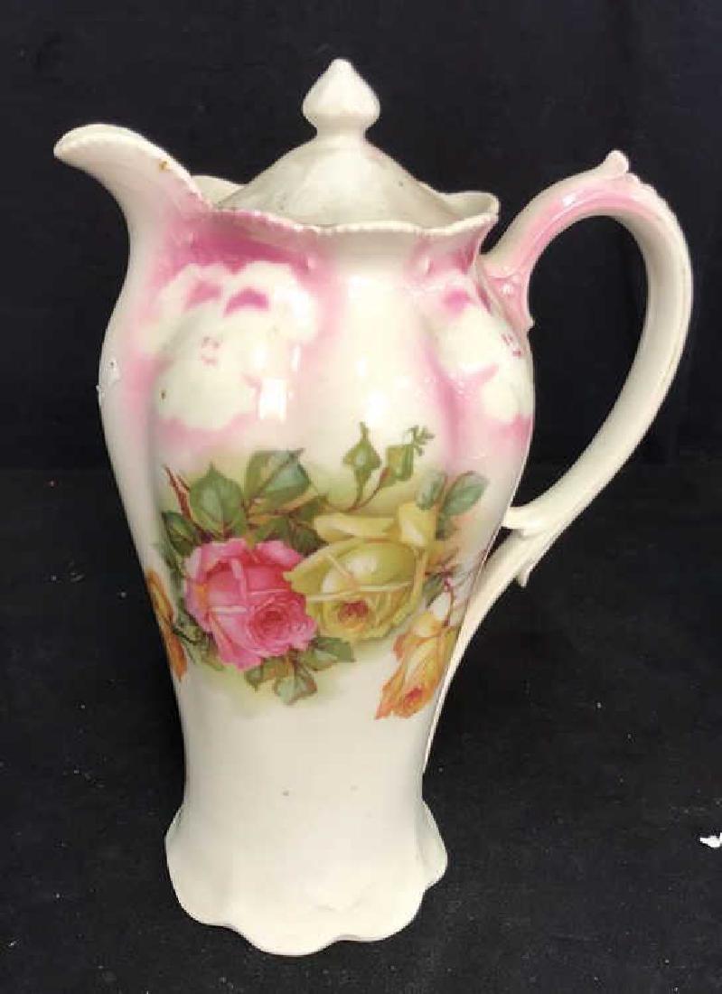 2 Vintage Painted Porcelain Teapots - 2