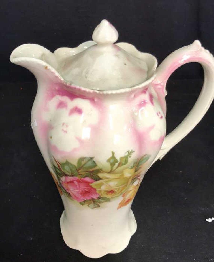 2 Vintage Painted Porcelain Teapots - 3