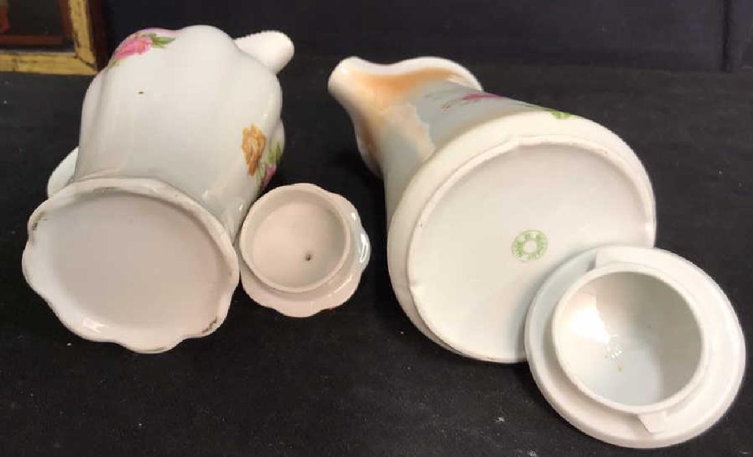 2 Vintage Painted Porcelain Teapots - 6