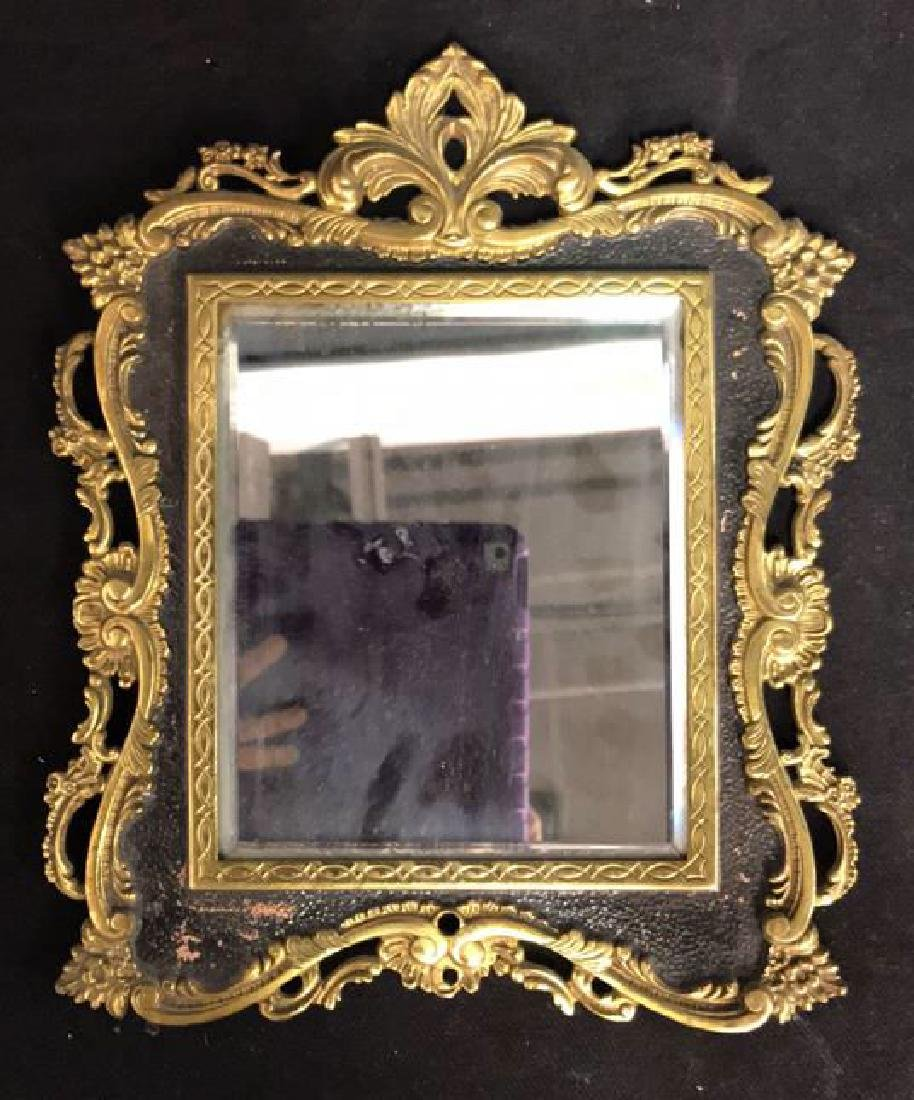 Brass and Black Toned Metal Framed Mirror