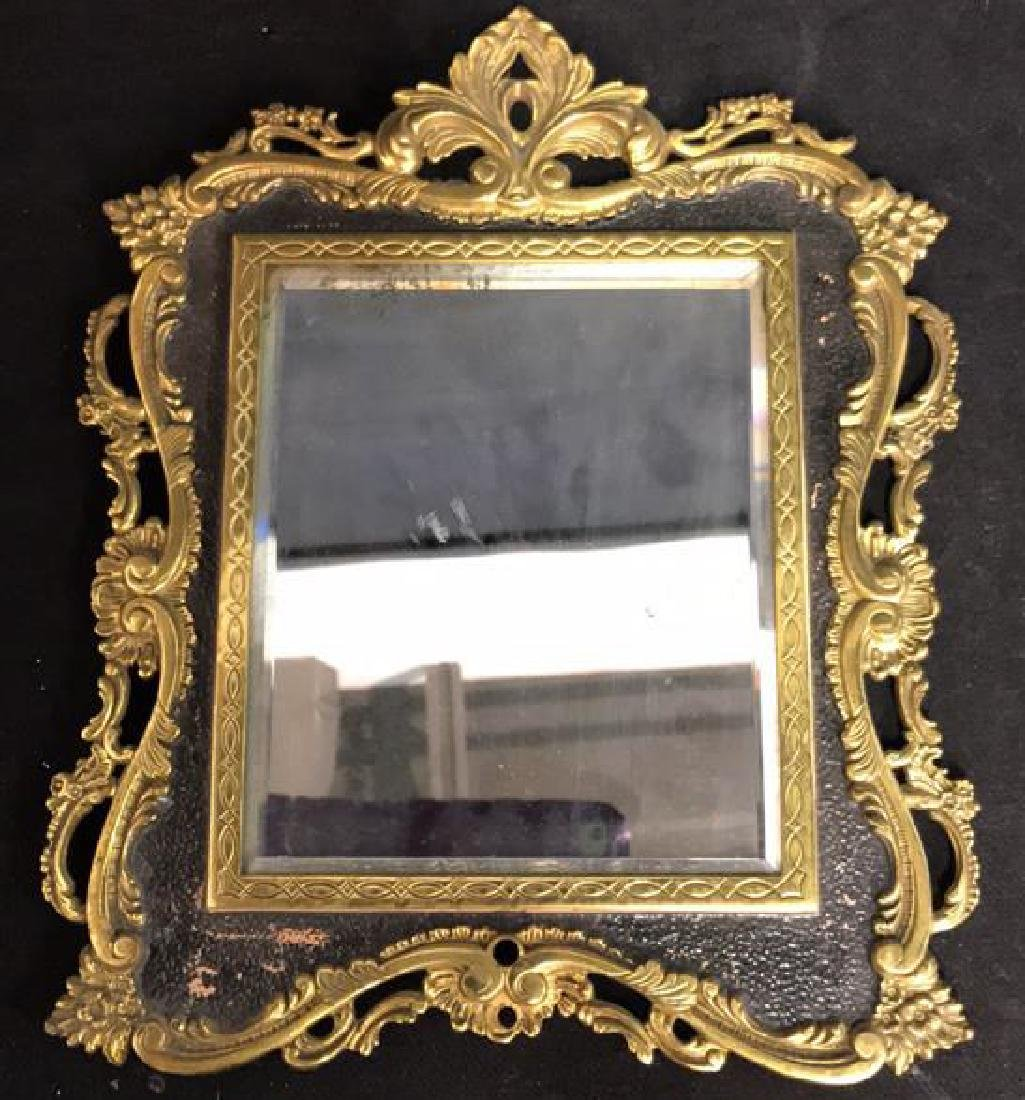 Brass and Black Toned Metal Framed Mirror - 2