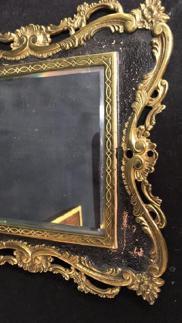 Brass and Black Toned Metal Framed Mirror - 3