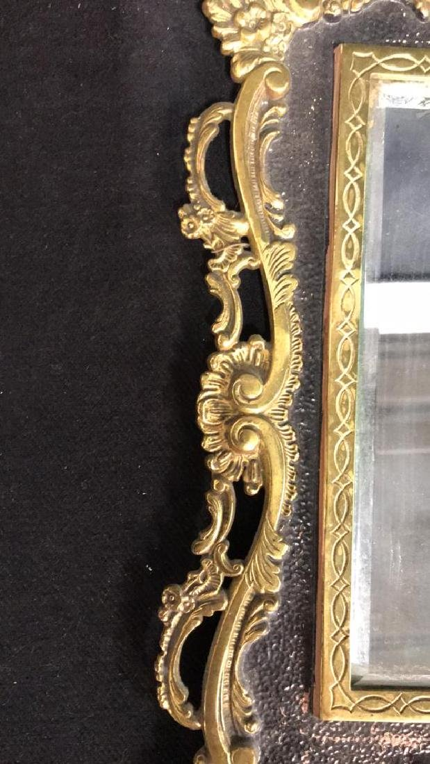 Brass and Black Toned Metal Framed Mirror - 4