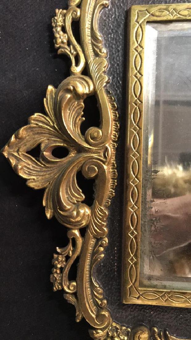 Brass and Black Toned Metal Framed Mirror - 7
