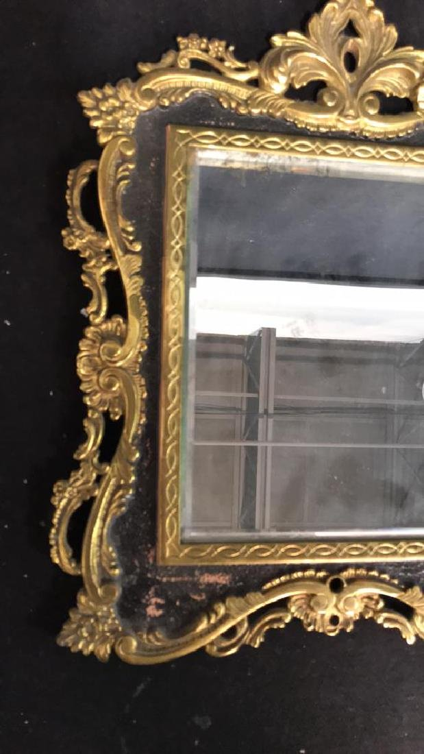 Brass and Black Toned Metal Framed Mirror - 9