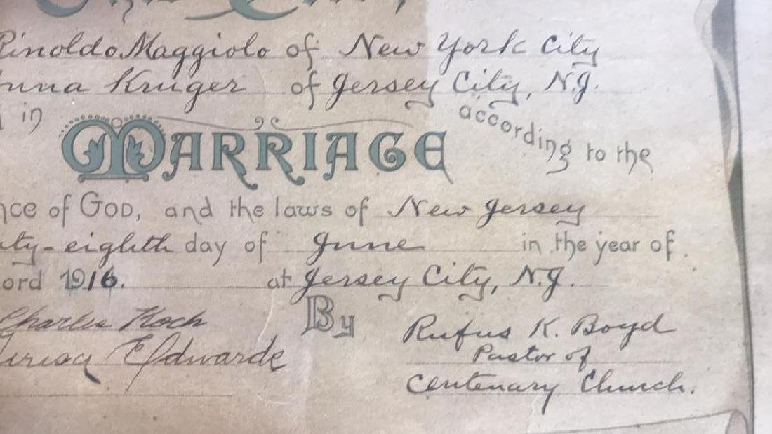 1916 Antique Framed Marriage Certificate - 10