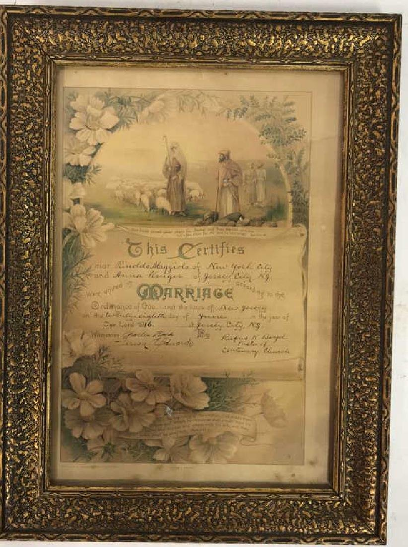 1916 Antique Framed Marriage Certificate