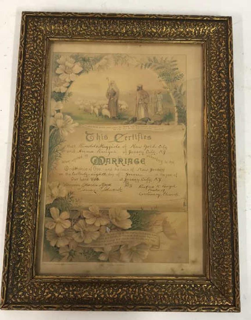 1916 Antique Framed Marriage Certificate - 2