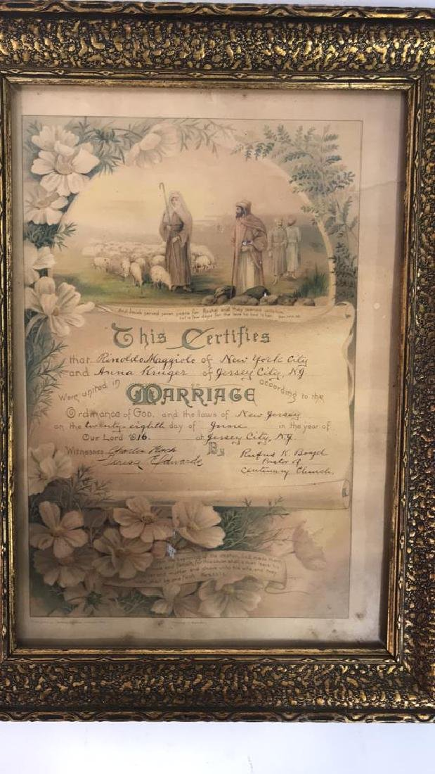 1916 Antique Framed Marriage Certificate - 3