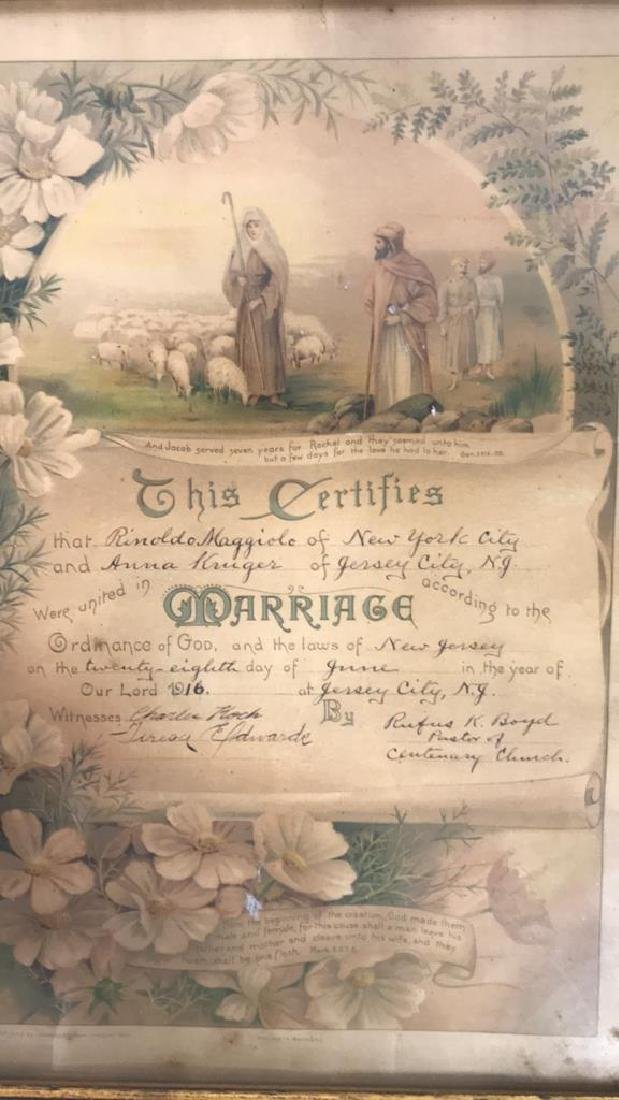 1916 Antique Framed Marriage Certificate - 4