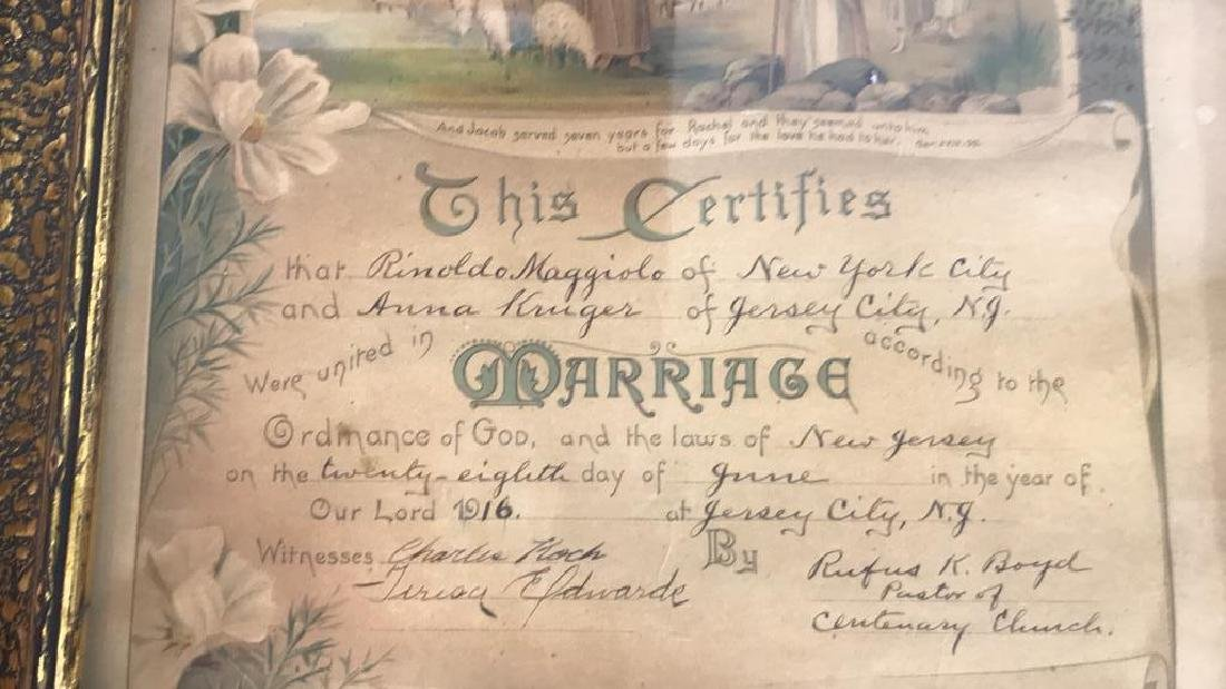 1916 Antique Framed Marriage Certificate - 5