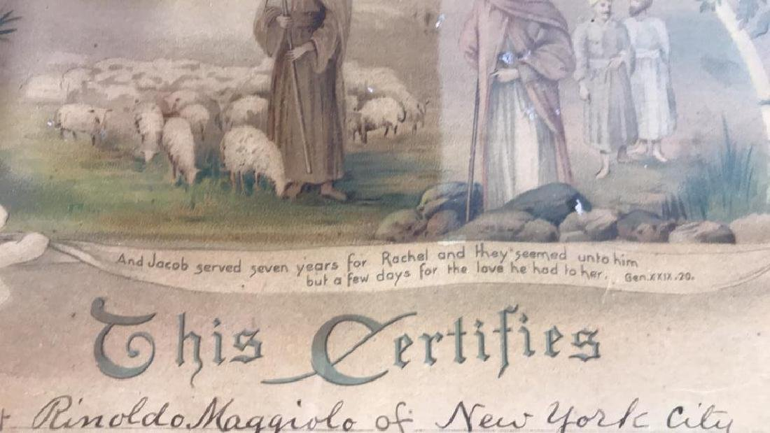 1916 Antique Framed Marriage Certificate - 9