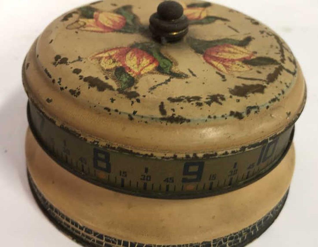 Antique Painted Tole Circular Desk Clock