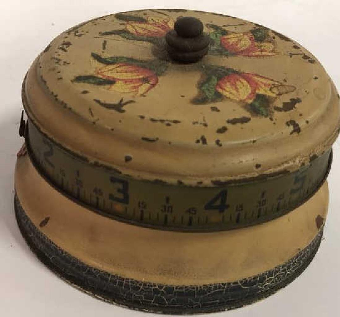 Antique Painted Tole Circular Desk Clock - 2