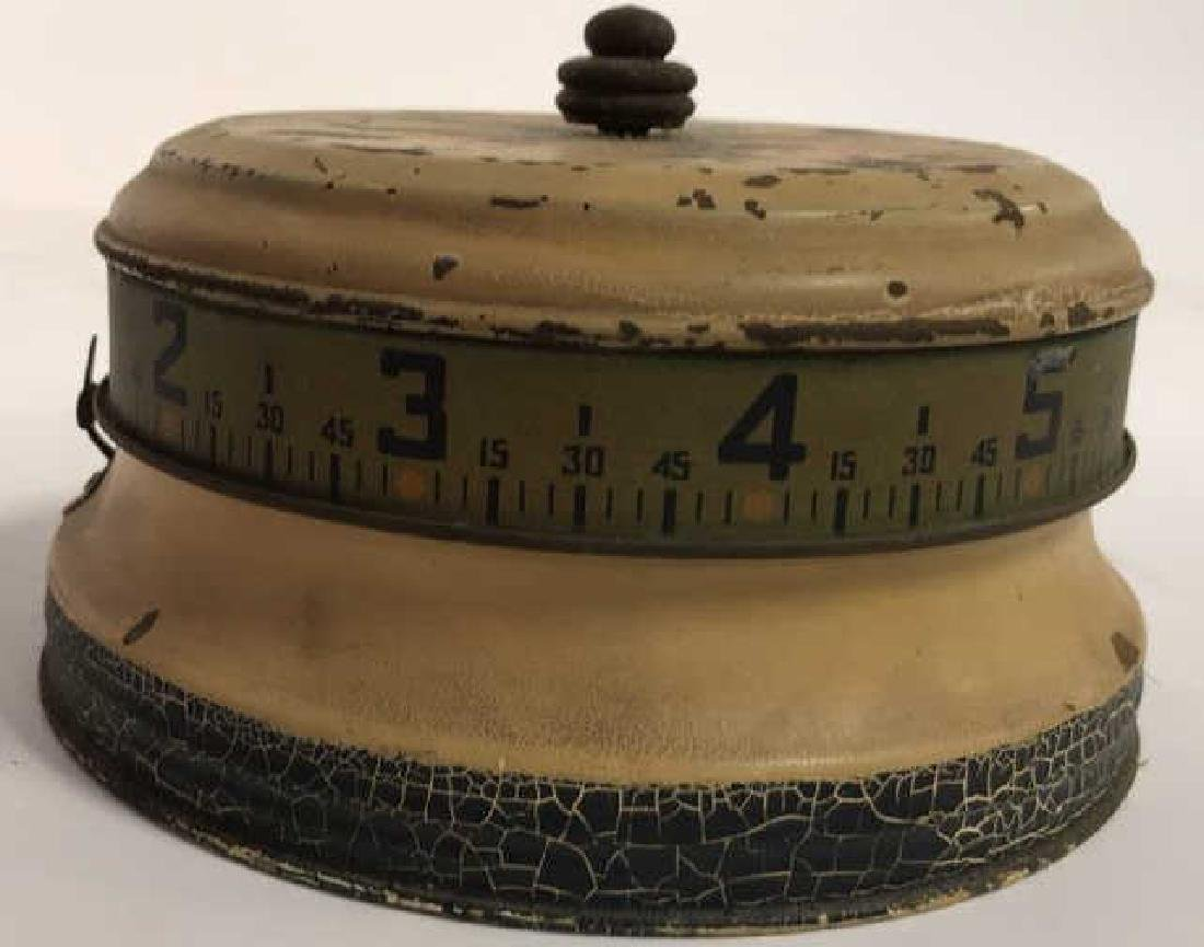 Antique Painted Tole Circular Desk Clock - 3