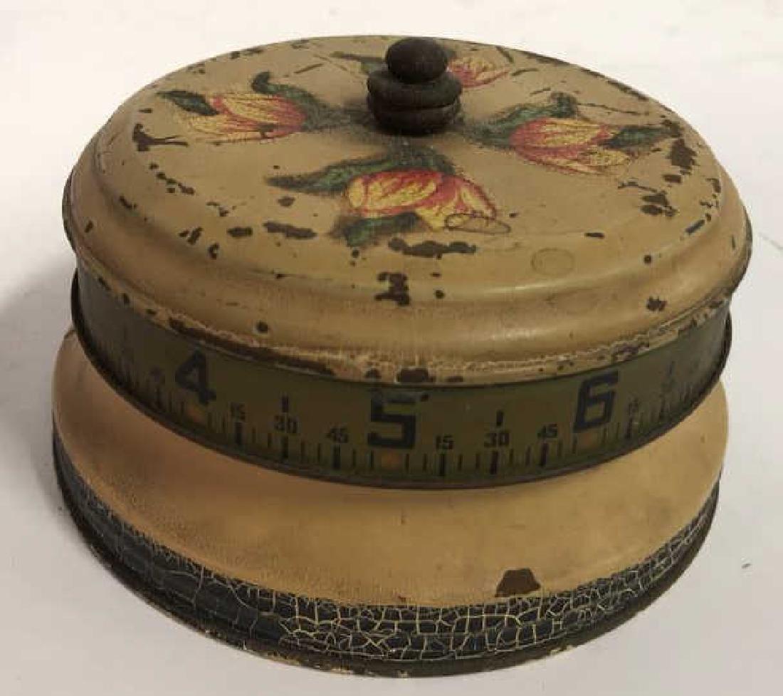 Antique Painted Tole Circular Desk Clock - 4