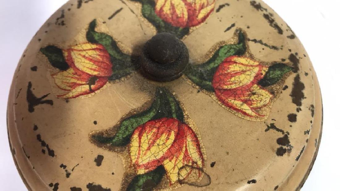 Antique Painted Tole Circular Desk Clock - 6