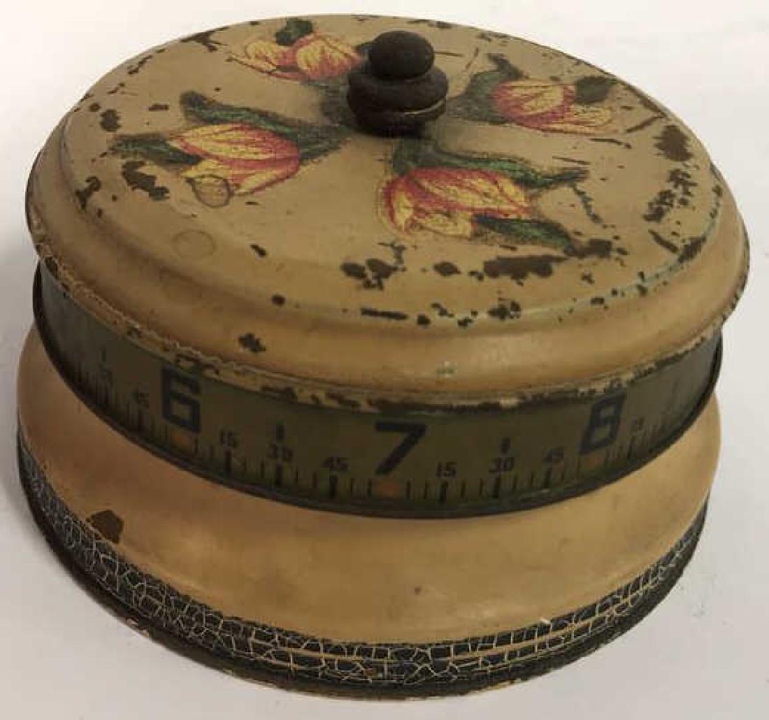 Antique Painted Tole Circular Desk Clock - 9