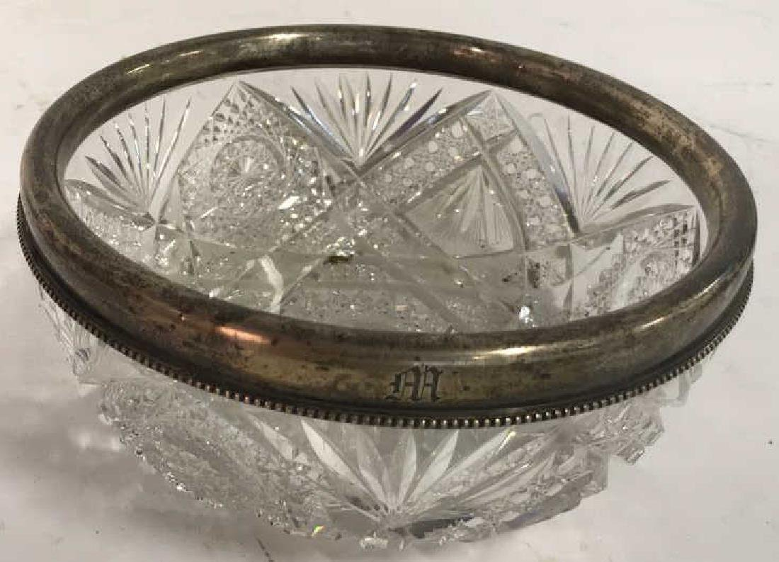 Cut Crystal Bowl with Sterling Rim - 3