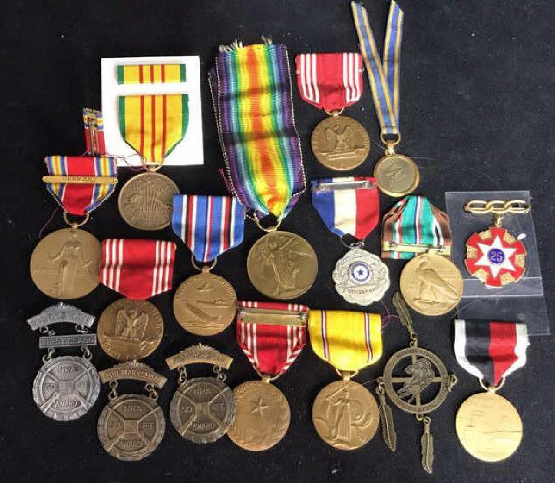 Group Lot 17 Military Medals, Antique and Vintage