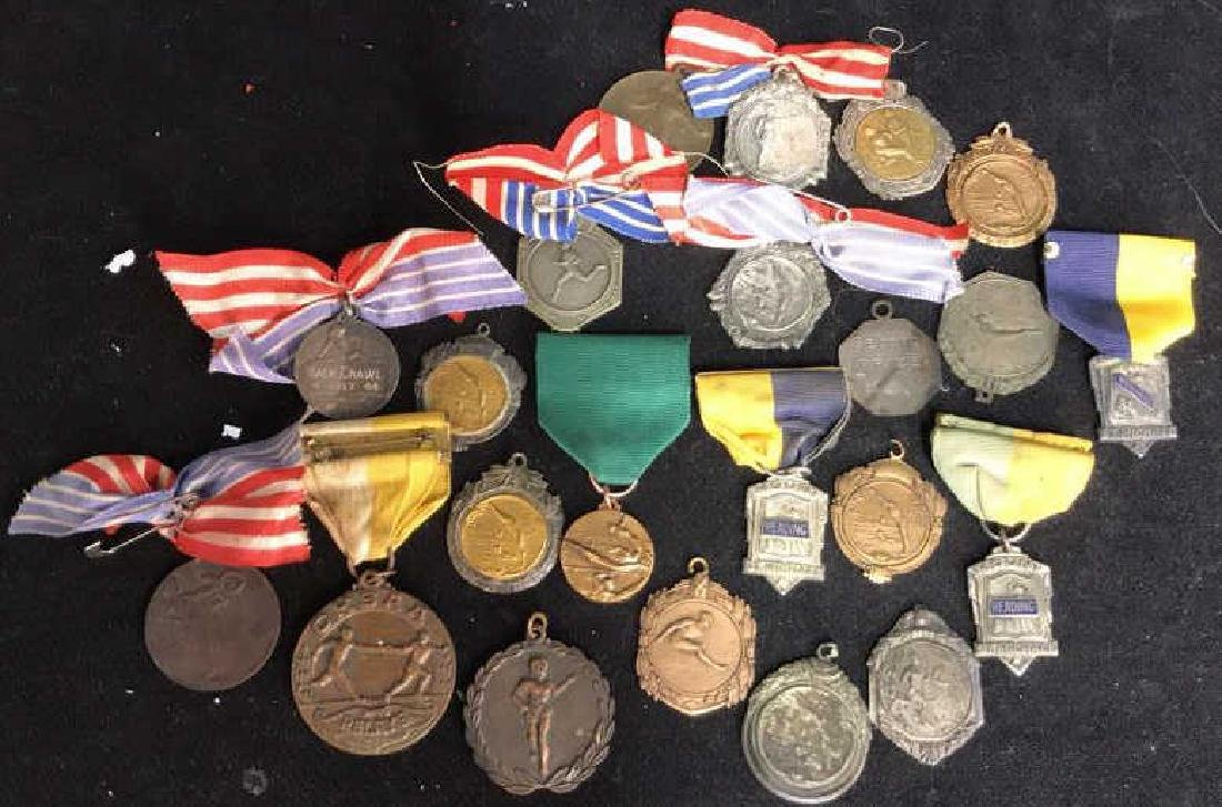 Group Lot 22 Vintage Collectible School Medals