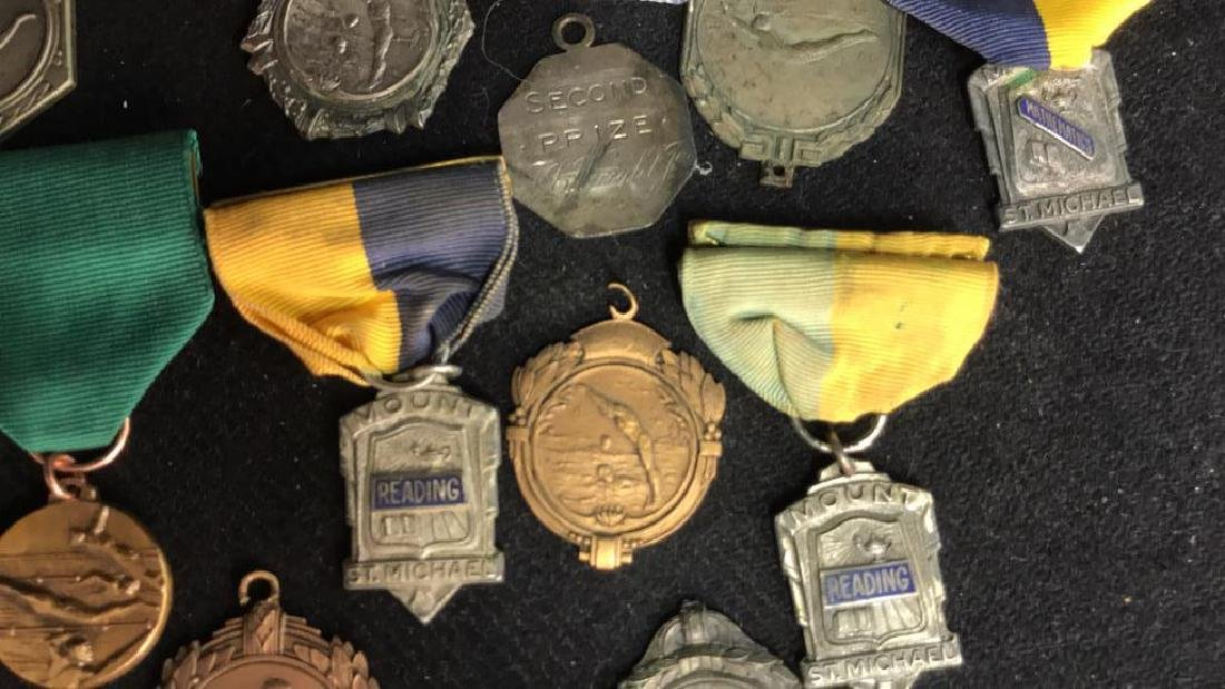 Group Lot 22 Vintage Collectible School Medals - 7