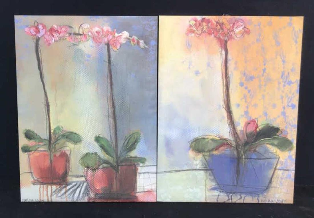 2 Contemporary Style Orchid Floral Prints Canvas