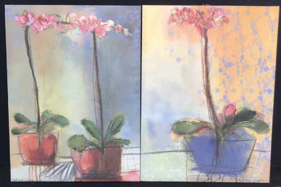 2 Contemporary Style Orchid Floral Prints Canvas - 2