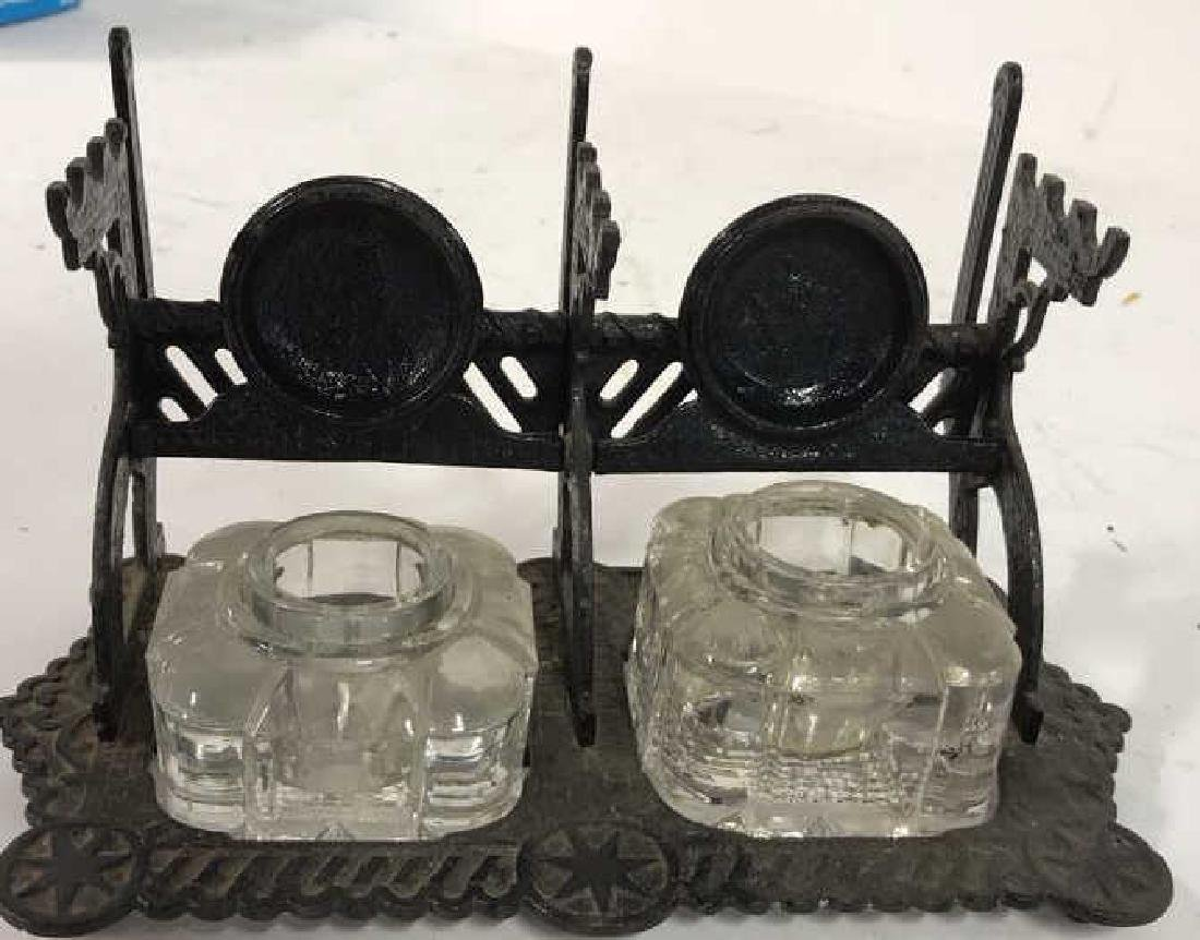 Antique Bronze Two Cup Inkwell w Glass Jars - 6