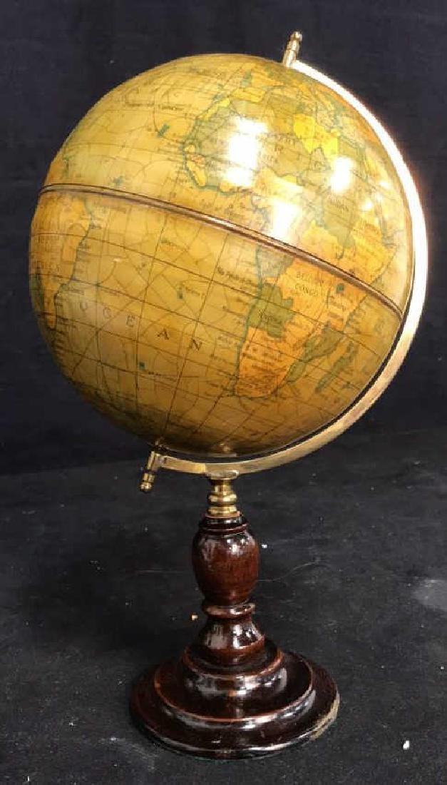 Polished Mahogany and Brass Metal Globe