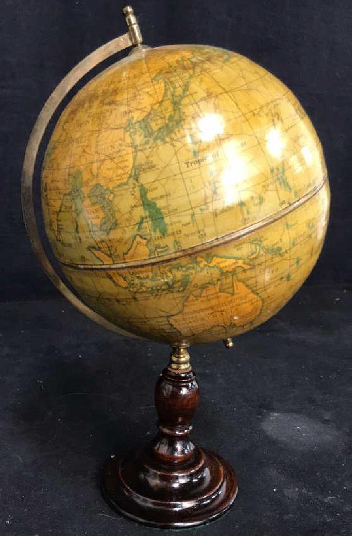 Polished Mahogany and Brass Metal Globe - 2