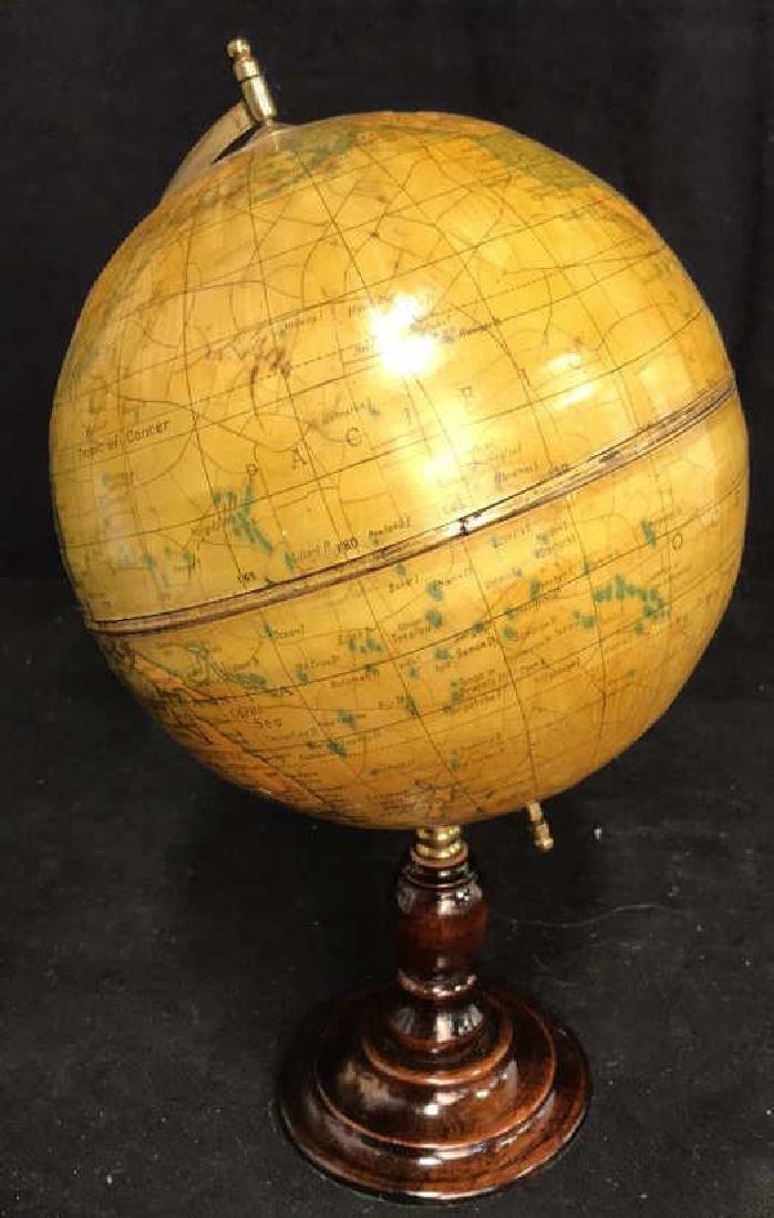 Polished Mahogany and Brass Metal Globe - 4