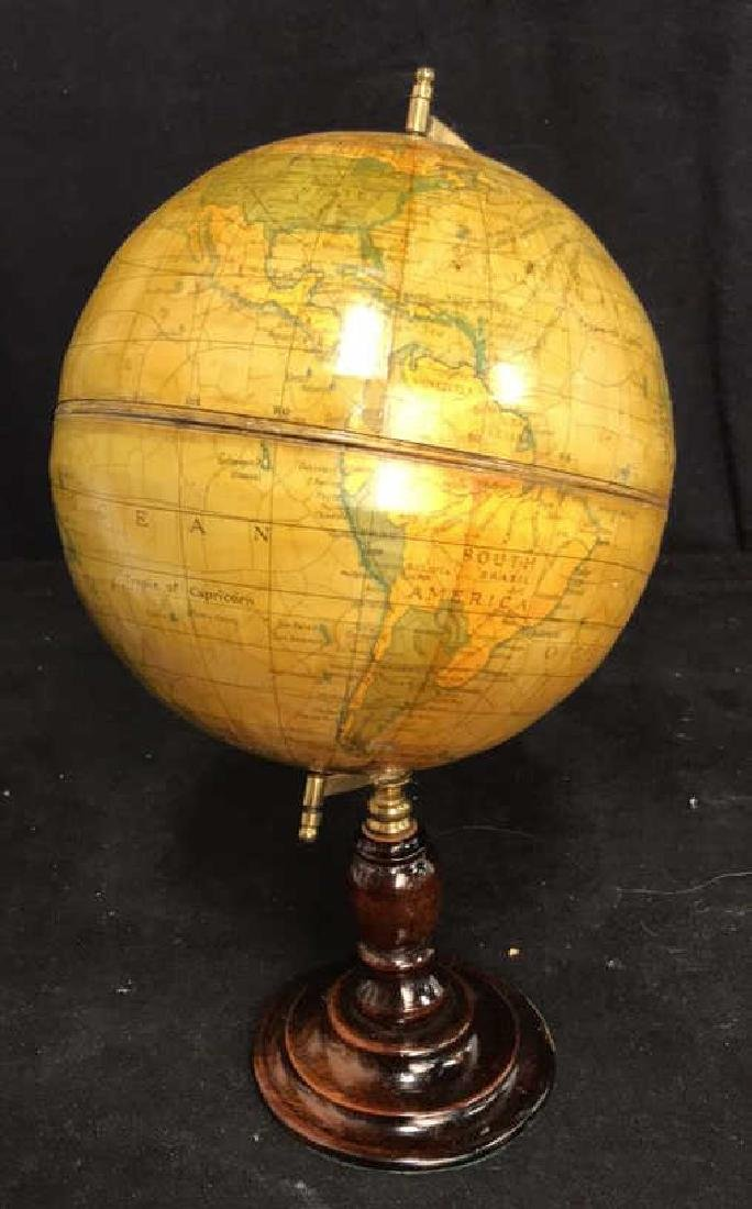 Polished Mahogany and Brass Metal Globe - 5