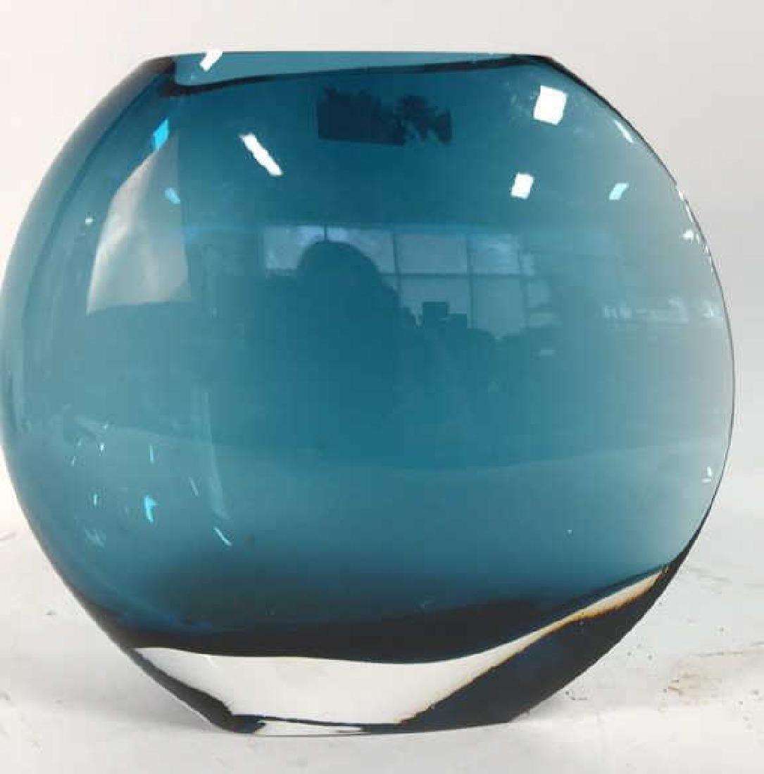 Teal Blue Art Glass Disc Form Vase