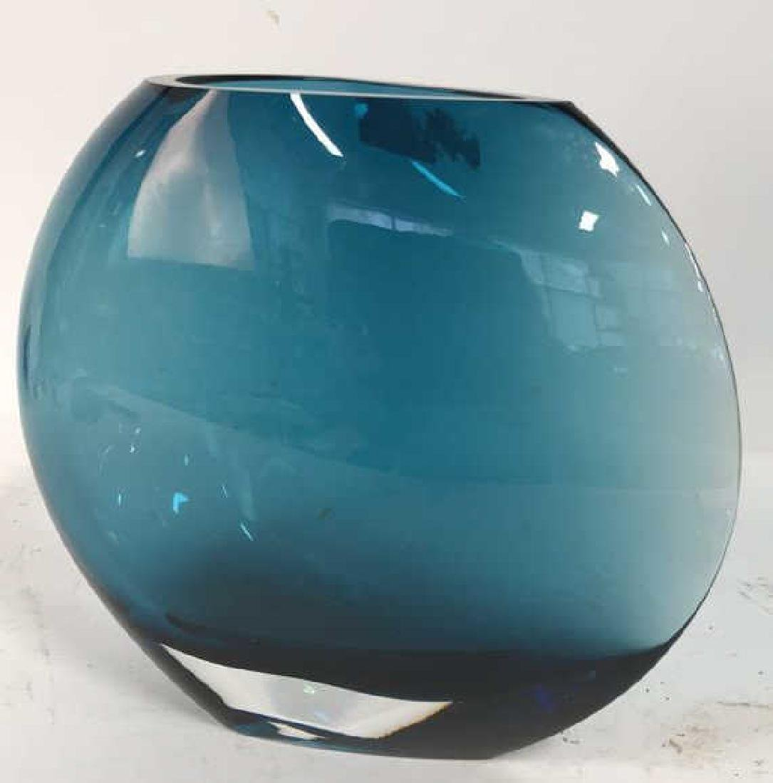 Teal Blue Art Glass Disc Form Vase - 2