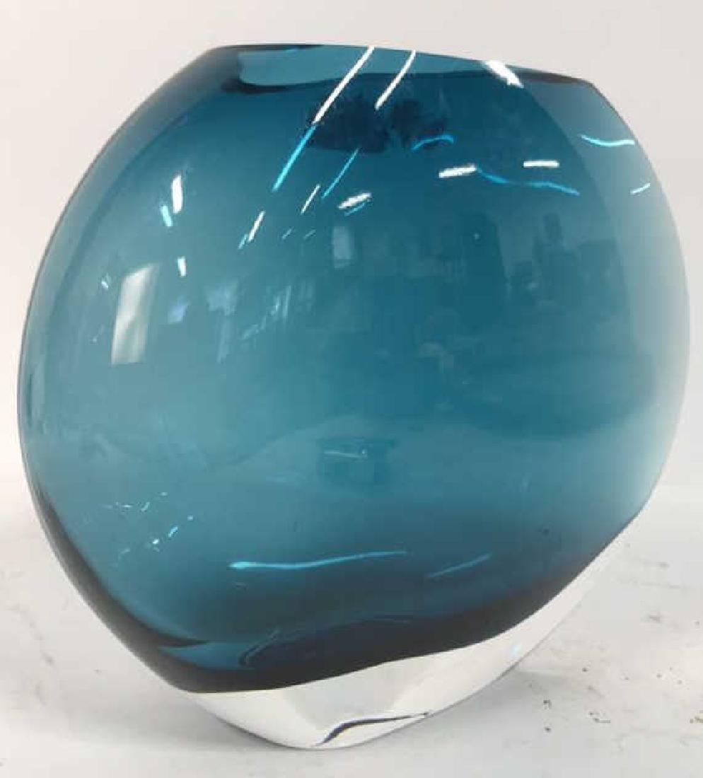 Teal Blue Art Glass Disc Form Vase - 4