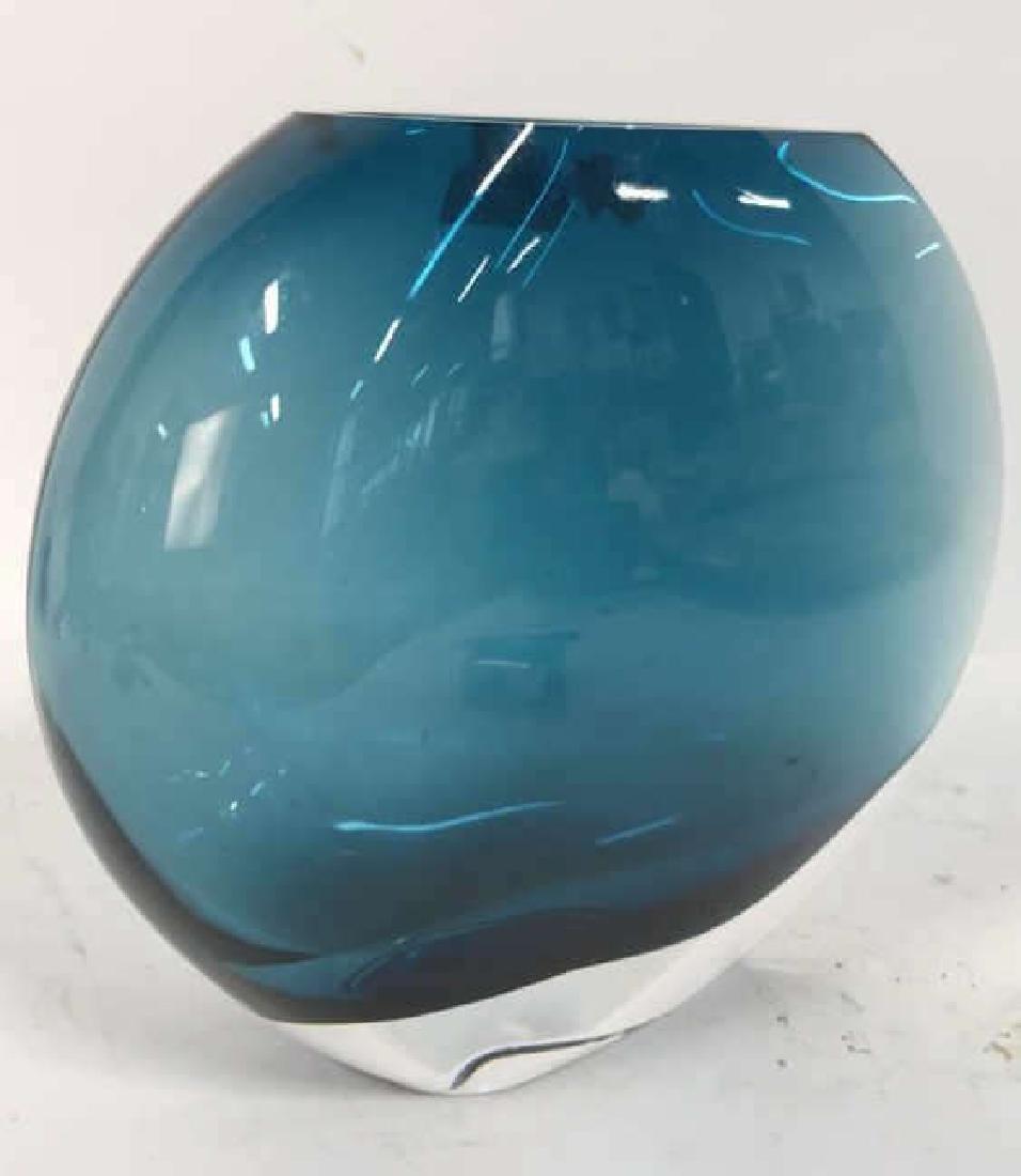 Teal Blue Art Glass Disc Form Vase - 5