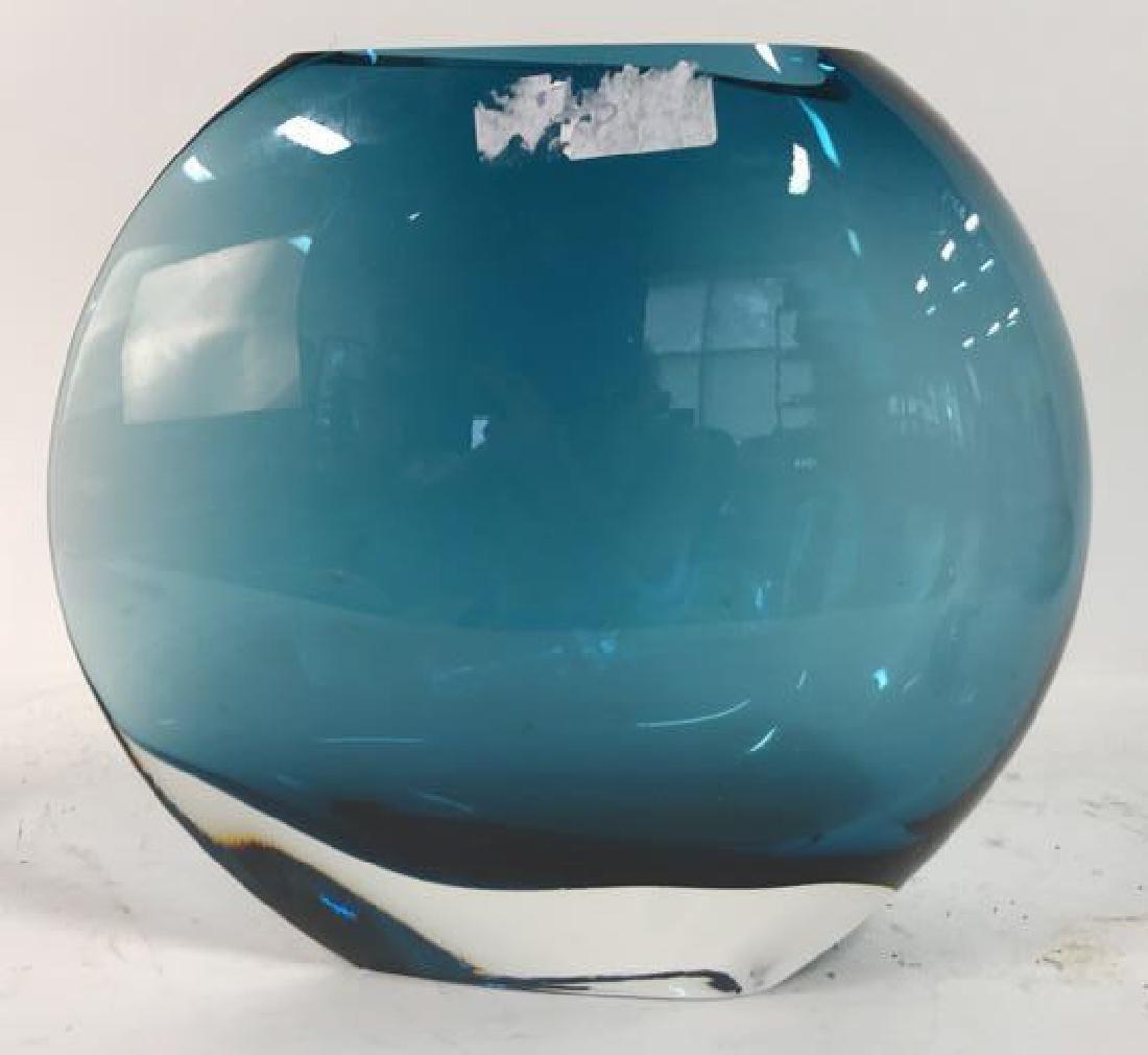 Teal Blue Art Glass Disc Form Vase - 7
