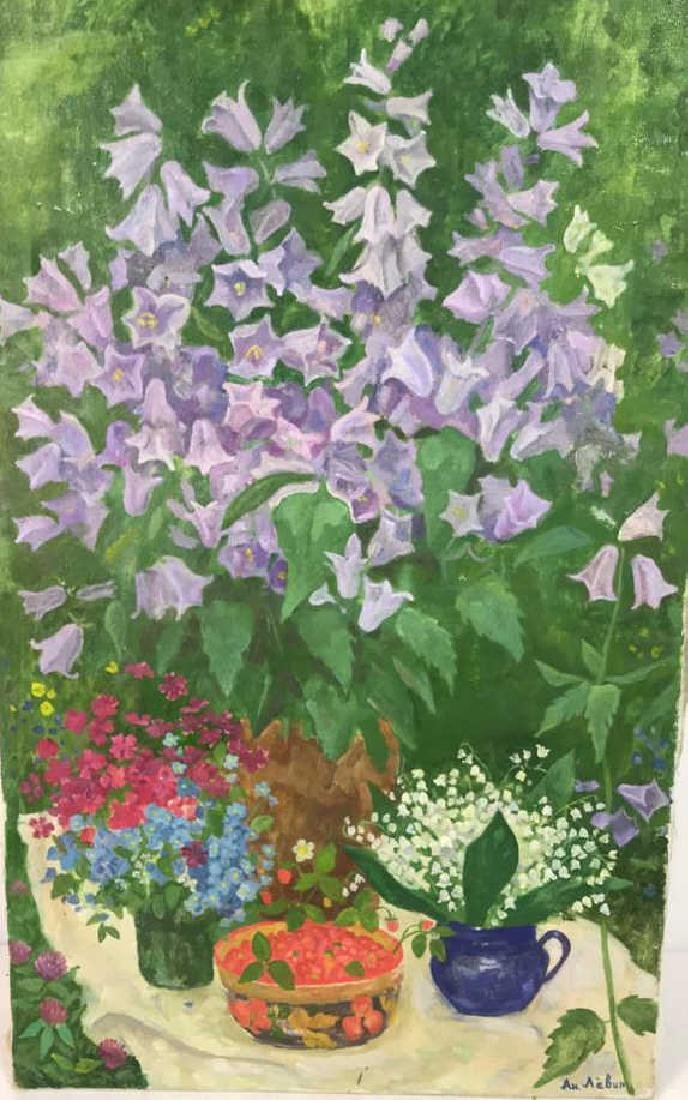 A.N. Levin Forest Flowers Painting Canvas 1993